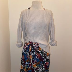 Theory 100% wool pullover ribbed high low boat neck sweater size small